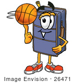 #26471 Clip Art Graphic Of A Suitcase Luggage Cartoon Character Spinning A Basketball On His Finger