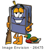 #26475 Clip Art Graphic Of A Suitcase Luggage Cartoon Character Duck Hunting Standing With A Rifle And Duck