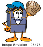 #26476 Clip Art Graphic Of A Suitcase Luggage Cartoon Character Catching A Baseball With A Glove