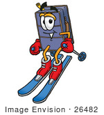 #26482 Clip Art Graphic Of A Suitcase Luggage Cartoon Character Skiing Downhill
