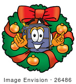 #26486 Clip Art Graphic Of A Suitcase Luggage Cartoon Character In The Center Of A Christmas Wreath