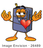 #26489 Clip Art Graphic of a Suitcase Luggage Cartoon Character With His Heart Beating Out of His Chest by toons4biz