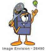 #26490 Clip Art Graphic Of A Suitcase Luggage Cartoon Character Preparing To Hit A Tennis Ball