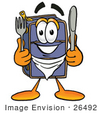 #26492 Clip Art Graphic Of A Suitcase Luggage Cartoon Character Holding A Knife And Fork