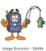 #26494 Clip Art Graphic Of A Suitcase Luggage Cartoon Character Holding A Fish On A Fishing Pole