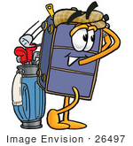#26497 Clip Art Graphic Of A Suitcase Luggage Cartoon Character Swinging His Golf Club While Golfing