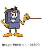 #26500 Clip Art Graphic Of A Suitcase Luggage Cartoon Character Holding A Pointer Stick