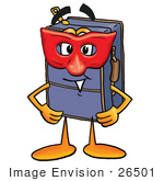 #26501 Clip Art Graphic Of A Suitcase Luggage Cartoon Character Wearing A Red Mask Over His Face