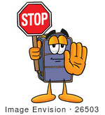 #26503 Clip Art Graphic Of A Suitcase Luggage Cartoon Character Holding A Stop Sign