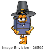 #26505 Clip Art Graphic Of A Suitcase Luggage Cartoon Character Wearing A Pilgrim Hat On Thanksgiving