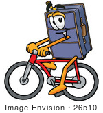 #26510 Clip Art Graphic Of A Suitcase Luggage Cartoon Character Riding A Bicycle