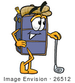 #26512 Clip Art Graphic Of A Suitcase Luggage Cartoon Character Leaning On A Golf Club While Golfing