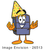 #26513 Clip Art Graphic Of A Suitcase Luggage Cartoon Character Wearing A Birthday Party Hat