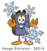 #26514 Clip Art Graphic Of A Suitcase Luggage Cartoon Character With Three Snowflakes In Winter