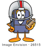 #26515 Clip Art Graphic Of A Suitcase Luggage Cartoon Character In A Helmet Holding A Football