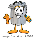 #26516 Clip Art Graphic Of A Metal Trash Can Cartoon Character Looking Through A Magnifying Glass