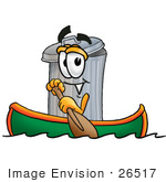 #26517 Clip Art Graphic Of A Metal Trash Can Cartoon Character Rowing A Boat