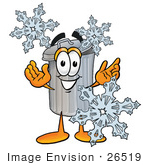 #26519 Clip Art Graphic Of A Metal Trash Can Cartoon Character With Three Snowflakes In Winter