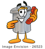 #26523 Clip Art Graphic Of A Metal Trash Can Cartoon Character Holding A Telephone