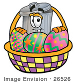 #26526 Clip Art Graphic Of A Metal Trash Can Cartoon Character In An Easter Basket Full Of Decorated Easter Eggs