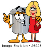 #26528 Clip Art Graphic of a Metal Trash Can Cartoon Character Talking to a Pretty Blond Woman by toons4biz