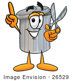 #26529 Clip Art Graphic Of A Metal Trash Can Cartoon Character Holding A Pair Of Scissors