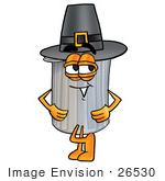 #26530 Clip Art Graphic Of A Metal Trash Can Cartoon Character Wearing A Pilgrim Hat On Thanksgiving