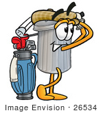 #26534 Clip Art Graphic Of A Metal Trash Can Cartoon Character Swinging His Golf Club While Golfing