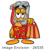 #26535 Clip Art Graphic Of A Metal Trash Can Cartoon Character In Orange And Red Snorkel Gear
