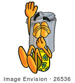 #26536 Clip Art Graphic Of A Metal Trash Can Cartoon Character Plugging His Nose While Jumping Into Water