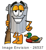 #26537 Clip Art Graphic Of A Metal Trash Can Cartoon Character Duck Hunting Standing With A Rifle And Duck
