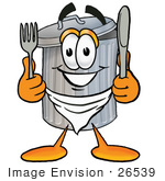 #26539 Clip Art Graphic Of A Metal Trash Can Cartoon Character Holding A Knife And Fork