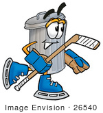 #26540 Clip Art Graphic Of A Metal Trash Can Cartoon Character Playing Ice Hockey