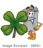 #26541 Clip Art Graphic Of A Metal Trash Can Cartoon Character With A Green Four Leaf Clover On St Paddy'S Or St Patricks Day