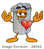 #26542 Clip Art Graphic Of A Metal Trash Can Cartoon Character With His Heart Beating Out Of His Chest