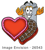 #26543 Clip Art Graphic Of A Metal Trash Can Cartoon Character With An Open Box Of Valentines Day Chocolate Candies
