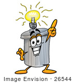 #26544 Clip Art Graphic of a Metal Trash Can Cartoon Character With a Bright Idea by toons4biz