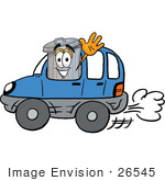 #26545 Clip Art Graphic Of A Metal Trash Can Cartoon Character Driving A Blue Car And Waving