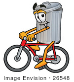 #26548 Clip Art Graphic of a Metal Trash Can Cartoon Character Riding a Bicycle by toons4biz