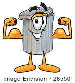 #26550 Clip Art Graphic of a Metal Trash Can Cartoon Character Flexing His Arm Muscles by toons4biz