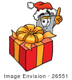 #26551 Clip Art Graphic Of A Metal Trash Can Cartoon Character Standing By A Christmas Present