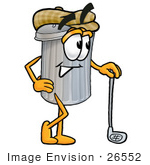 #26552 Clip Art Graphic Of A Metal Trash Can Cartoon Character Leaning On A Golf Club While Golfing