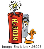 #26553 Clip Art Graphic Of A Metal Trash Can Cartoon Character Standing With A Lit Stick Of Dynamite