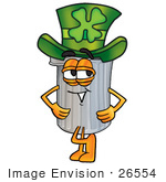 #26554 Clip Art Graphic Of A Metal Trash Can Cartoon Character Wearing A Saint Patricks Day Hat With A Clover On It