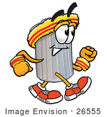 #26555 Clip Art Graphic Of A Metal Trash Can Cartoon Character Speed Walking Or Jogging