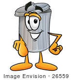 #26559 Clip Art Graphic of a Metal Trash Can Cartoon Character Pointing at the Viewer by toons4biz