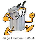 #26560 Clip Art Graphic of a Metal Trash Can Cartoon Character Running by toons4biz