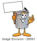 #26561 Clip Art Graphic of a Metal Trash Can Cartoon Character Holding a Blank Sign by toons4biz