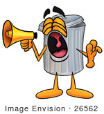 #26562 Clip Art Graphic Of A Metal Trash Can Cartoon Character Screaming Into A Megaphone