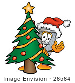 #26564 Clip Art Graphic Of A Metal Trash Can Cartoon Character Waving And Standing By A Decorated Christmas Tree